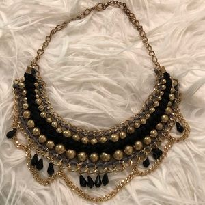 Jewelry - Gold and black braided necklace